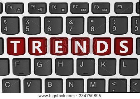 Trends Analysis On The Internet, A Close-up Of A Keyboard With Red Highlighted Text Trends 3d Illust