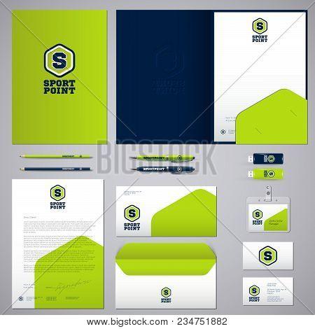 Identity And Logo. Sports. Exercise, Sports Nutrition. Identity,  Logo, Blank, Envelope, Folder, Bus