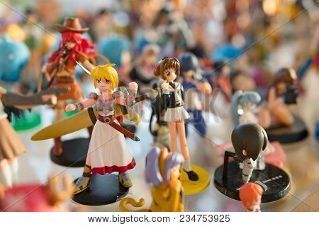 Yasothorn, Thailand - January 02, 2018:anime Figure In Secondhand Shop,anime Is A Popular Type Of An