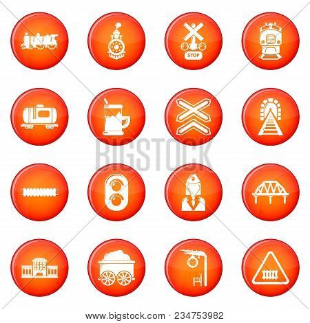 Train Railroad Icons Set Vector Red Circle Isolated On White Background