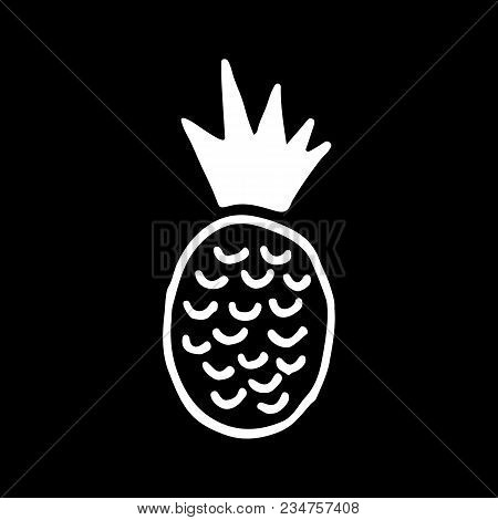 Cute Cartoon Hand Drawn Pineapple Illustration. Sweet Vector Black And White Pineapple Illustration.