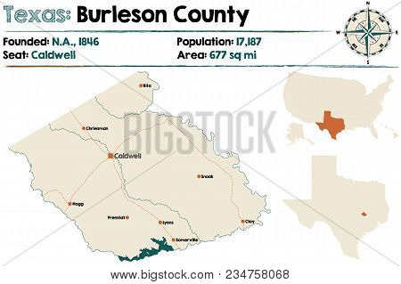 Detailed Map Of Burleson County In Texas, Usa