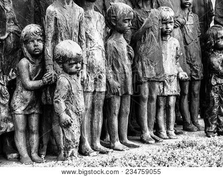 Lidice, Czech Republic - June 22, 2013: Lidice Memorial To The Children Victims Of The World War Ii