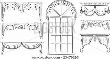 Variants of design of curtains and window vector
