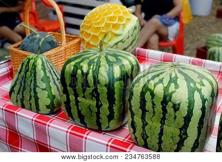 Cubic, Square, Triangular Watermelons And Watermelons With Carving. Fresh Ripe Watermelons On Displa