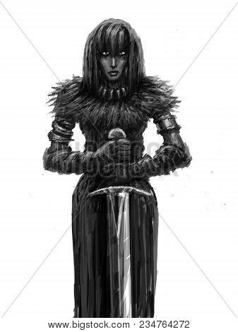 Girl Warrior With Big Sword. Glory Knight. Genre Of Fantasy.