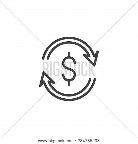 Dollar Money Exchange Outline Icon. Linear Style Sign For Mobile Concept And Web Design. Dollar Upda
