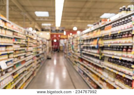 Blurred Abstract Of Soda And Cracker, Chips Aisle In American Groceries Store