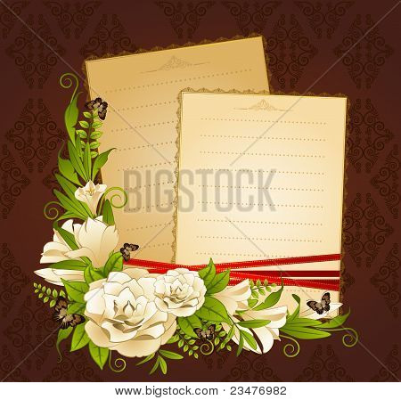 Flowers on the background with decorative frames for text