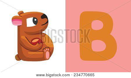 B Is For Bear. Letter B. Bear, Funny Cute Illustration. Animal Alphabet
