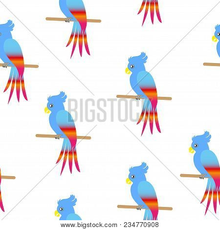 Seamless Vector Illustration Of Parrot On Fabric, Stickers, Wrappers, Etc.