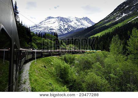 Train From White Pass To Skagway Alaska