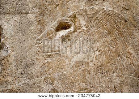 Anicent Egyptian Relief On Ruined Stone Wall