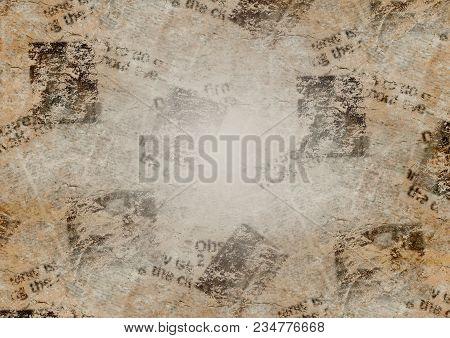 Old Grunge Newspaper Collage Paper Texture Horizontal Background. Blurred Vintage Newspaper Backgrou