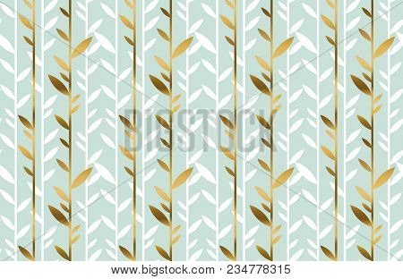 Elegant Gold And Pale Green Leaf Seamless Pattern. Simple Luxury Style Stock Vector Illustration. Fo