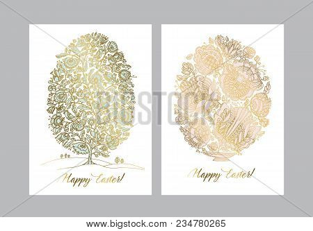 Gold Easter Egg With Folk Decorative Pattern. Boho Style Hand Drawn Stock Vector Illustration. Fairy