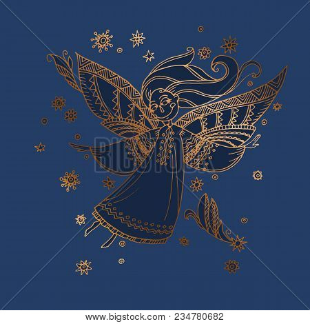 Luxury Night Blue And Gold Decorative Girl Angel. Hand Drawn Stock Vector Illustration. Magic Fairy