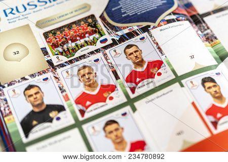 SAO PAULO, BRAZIL - CIRCA MARCH 2018: Panini FIFA World Cup Russia 2018 Official Licensed Sticker Album. (Russian Page)