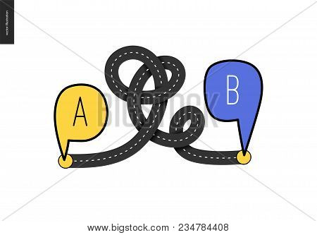 From Point A To Point B - An Asphalt Road Loop Connecting Two Points - Concept Of A Math Transport P