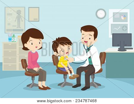Mom And Boy To See Doctor Sitting At The Table In Hospital, Infirmary, Clinic.healthcare Concept.cha