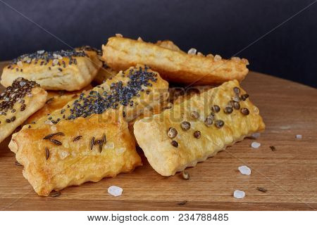 Baked Sticks With Caraway, Poppy, Chia Seeds, Salt