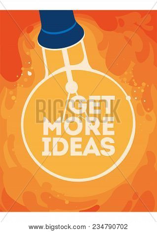 Lightbulb In Hand With Glow. Inspiration, Discovery, Care, Idea And Insight Concept. Flat Vector Ill