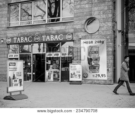 Kehl, Germany - Mar 29, 2018: Border Shopping - German Taback Shop Offering Cheaper Than In France C