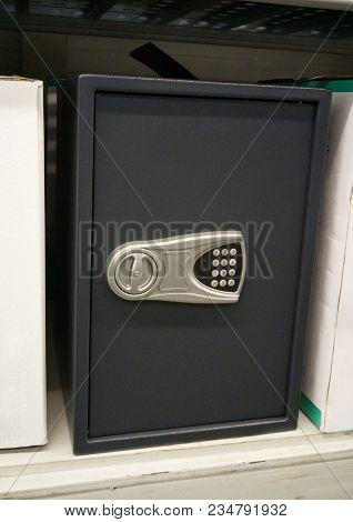Large Black Modern Safe Deposit Box At The Storefront.