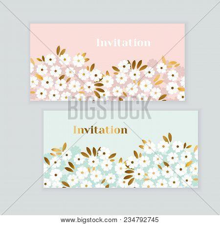 Luxury Gold And Pastel Green Spring Flowers. Elegant Stock Vector Illustration. Floral Decorative De