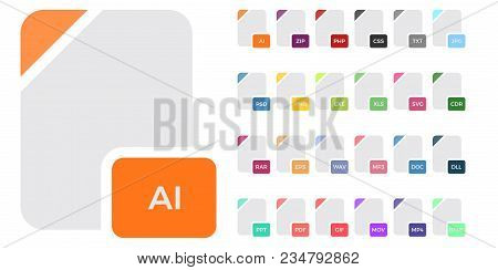 Flat File Format Icons. Audio, Video, Image, System, Archive, Code And Document File Types.set Of Do