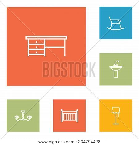 Set Of 6 Set Icons Line Style Set. Collection Of Sink, Worktop, Cot And Other Elements.