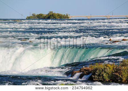 Niagara Fall Horseshoe. Ontario. Canada. Beautiful Waterfall Background.