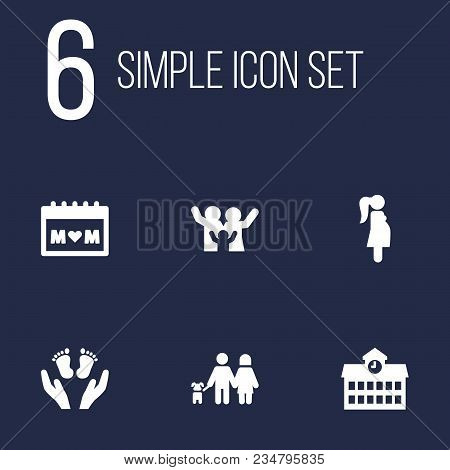 Set Of 6 Relatives Icons Set. Collection Of Calendar, Lovers, School And Other Elements.