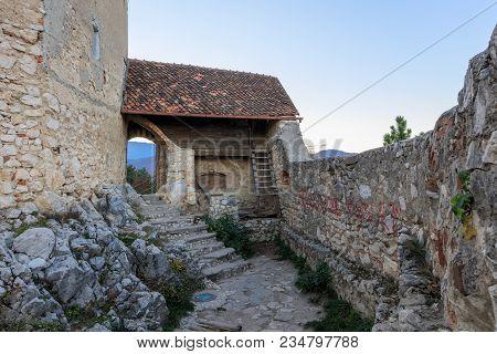 Entrance To The Rasnov Citadel In Transylvania, Romania