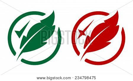 Two Vector Icons With Feathers. Permitted And Prohibited.