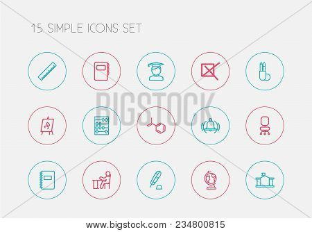 Set Of 15 Editable Education Icons Line Style. Includes Symbols Such As Figure, Chair, Formula And M