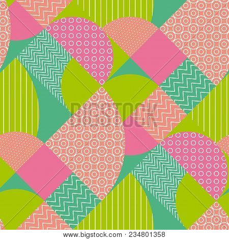 Abstract Multicolored Geometric Pattern In Pastel Color. Stock Vector Illustration. Spring Blue, Gre