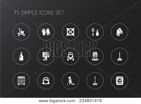 Set Of 15 Editable Cleanup Icons. Includes Symbols Such As Housewife, Vacuuming Woman, Swob And More