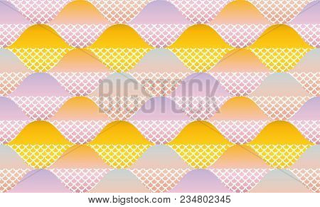 Fish Scale Abstract Geometric Seamless Pattern. Pastel Color Decorative Repeatable Background. Stock