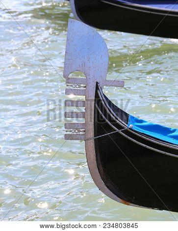 Bow Of Venice Gondola In The Adriatic Sea