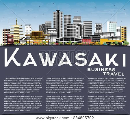 Kawasaki Japan City Skyline with Color Buildings, Blue Sky and Copy Space. Business Travel and Tourism Concept with Historic Architecture. Kawasaki Cityscape with Landmarks.