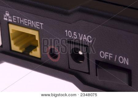 Close-Up detail of a modern DSL Modem poster