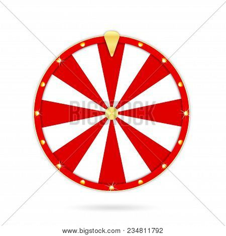 Realistic Wheel Of Fortune Isolated On White Background. Gambling Roulette And Fortune Wheel Concept