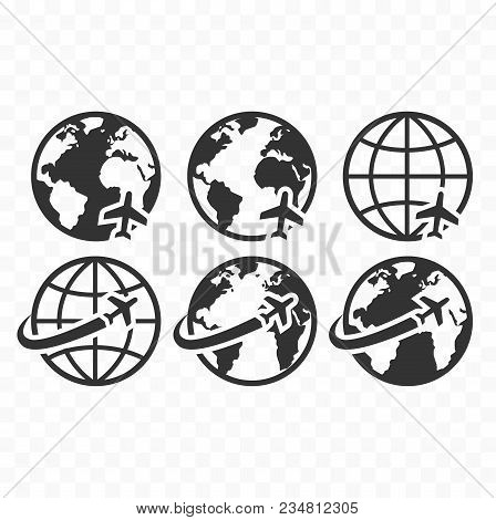 Globe Symbol Web Icon Set With Airplane Flight Sign. Planet Earth Icons With Airplane Flying Icon.