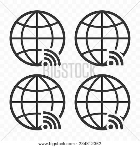 Globe Symbol Web Icon Set With Wireless Signal Sign. Planet Earth Icons With Wi Fi Sign.
