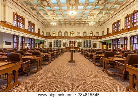 Austin, Texas - March 28, 2018 - The House Of Representatives Chamber  Of The Texas State Capitol Bu