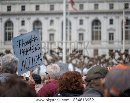 San Francisco, Ca - March 24, 2018: Thoughts And Prayers Strikethrough Banner At March For Our Lives