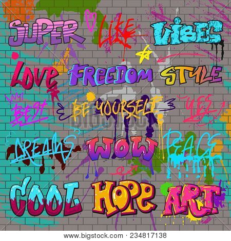Graffiti Vector Graffito Of Brushstroke Lettering Or Graphic Grunge Typography Illustration Set Of S