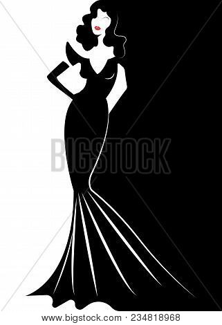 Diva Hollywood Silhouette, Beautiful Retro Fashion Woman In Black Party Dress, Luxury Pret A Porter
