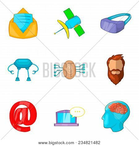 Interactive Game Icons Set. Cartoon Set Of 9 Interactive Game Vector Icons For Web Isolated On White